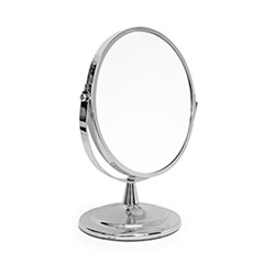 Dispensing cosmetic mirror 17 cm, 1x and 2x magnification