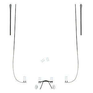 Rimless Glasses Spare Parts : Spare Parts Set for Rimless Frames hingeless temple Black