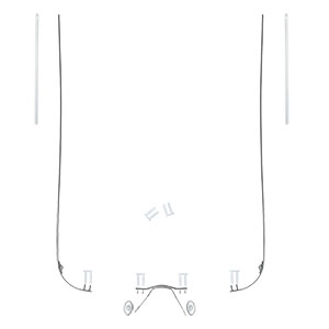 Rimless Eyeglasses Parts : Spare Parts Set for Rimless Frames temple with hinge Silver
