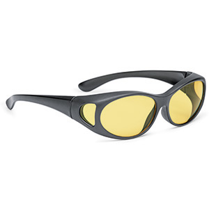 Overspecs plastic black matt oval, yellow 25% 61-14